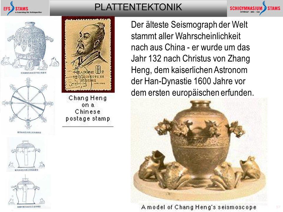 PLATTENTEKTONIK Plattentektonik57 Der älteste Seismograph der Welt stammt aller Wahrscheinlichkeit nach aus China - er wurde um das Jahr 132 nach Christus von Zhang Heng, dem kaiserlichen Astronom der Han-Dynastie 1600 Jahre vor dem ersten europäischen erfunden.