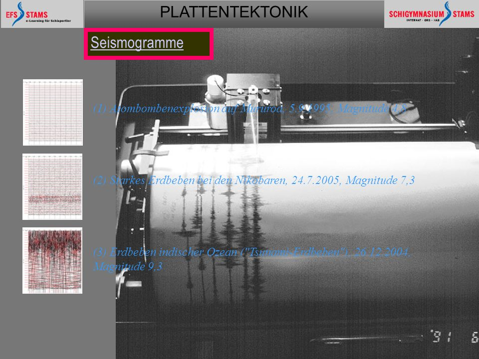 PLATTENTEKTONIK Plattentektonik58 (1) Atombombenexplosion auf Mururoa, 5.9.1995, Magnitude 4,8 (2) Starkes Erdbeben bei den Nikobaren, 24.7.2005, Magnitude 7,3 (3) Erdbeben indischer Ozean ( Tsunami-Erdbeben ), 26.12.2004, Magnitude 9,3 Seismogramme