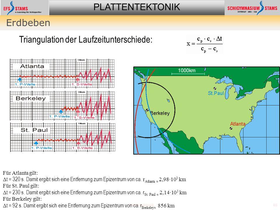 PLATTENTEKTONIK Plattentektonik65 Erdbeben Für Atlanta gilt: t = 320 s. Damit ergibt sich eine Entfernung zum Epizentrum von ca. r Atlanta 2,98·10 3 k