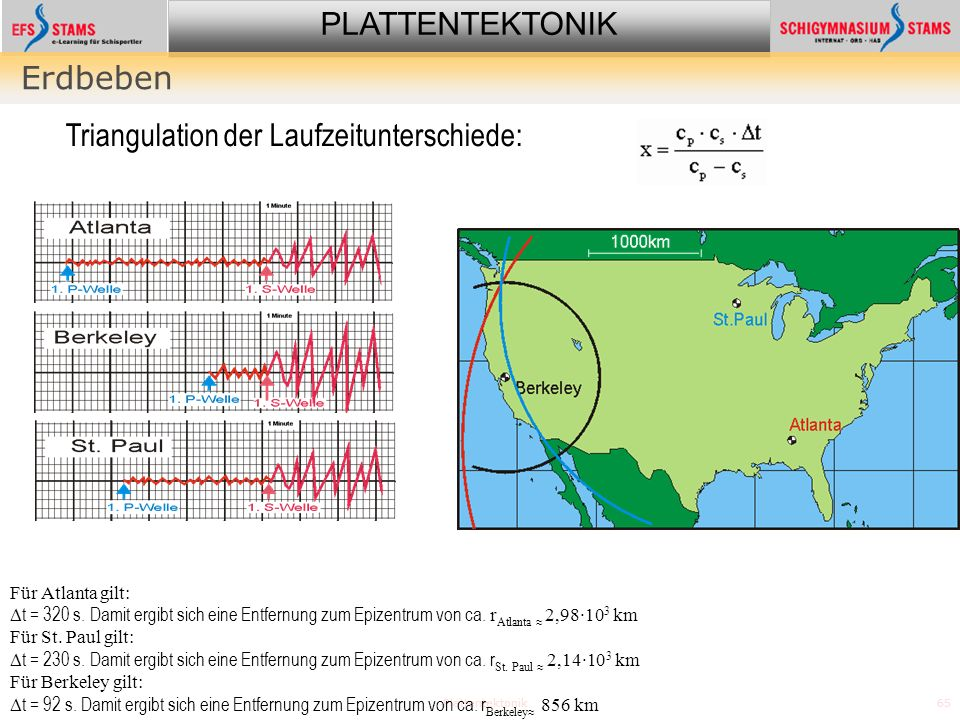 PLATTENTEKTONIK Plattentektonik65 Erdbeben Für Atlanta gilt: t = 320 s.