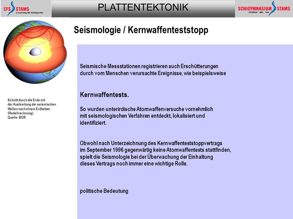 PLATTENTEKTONIK Plattentektonik74 Seismologie / Kernwaffenteststopp Schnitt durch die Erde mit der Ausbreitung der seismischen Wellen nach einem Erdbeben (Modellrechnung).Quelle: BGR Schnitt durch die Erde mit der Ausbreitung der seismischen Wellen nach einem Erdbeben (Modellrechnung).Quelle: BGR Die Seismologie - die Lehre von den Erdbeben - ist ein Gebiet mit einem sehr breiten Anwendungsspektrum.