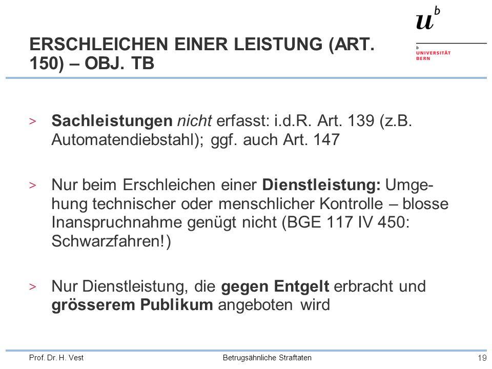 Betrugsähnliche Straftaten 19 Prof. Dr. H. Vest ERSCHLEICHEN EINER LEISTUNG (ART.