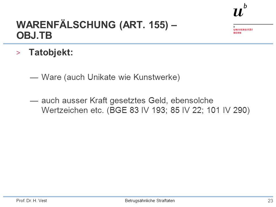 Betrugsähnliche Straftaten 23 Prof.Dr. H. Vest WARENFÄLSCHUNG (ART.