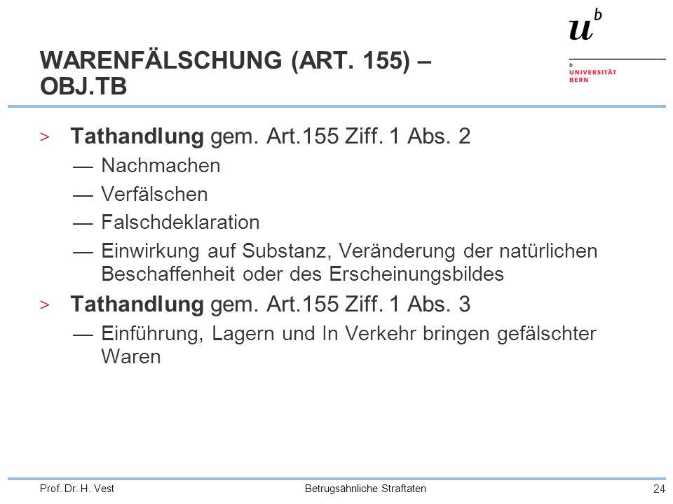Betrugsähnliche Straftaten 24 Prof.Dr. H. Vest WARENFÄLSCHUNG (ART.
