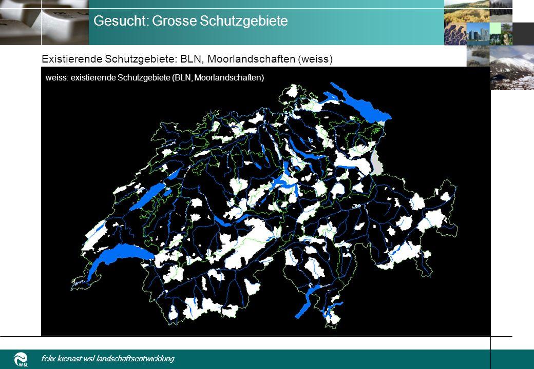 WSL felix kienast wsl-landschaftsentwicklung Gesucht: Grosse Schutzgebiete Existierende Schutzgebiete: BLN, Moorlandschaften (weiss) weiss: existierende Schutzgebiete (BLN, Moorlandschaften)