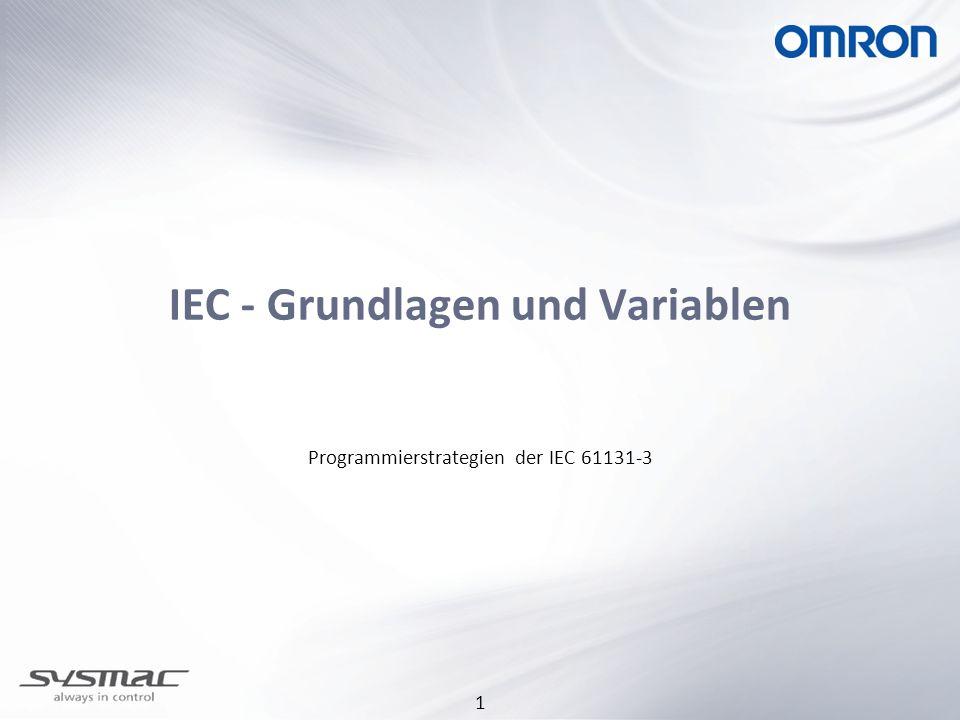 2 Programmierung nach IEC-Standard Vorteile: Bessere Übersichtlichkeit des Programms Wiederverwendbarkeit von Programmteilen durch Funktionen und Funktionsblöcken (dokumentiert und getestet) Erstellen einer eigenen Bibliothek Austausch von Bibliotheken zwischen verschiedenen Anwendern Der Programmierer kann Programmteile in anderen Programmiersprachen erstellen, z.B.: Strukturierten Text Globaler Standard Qualitätsverbesserung der SPS-Programme