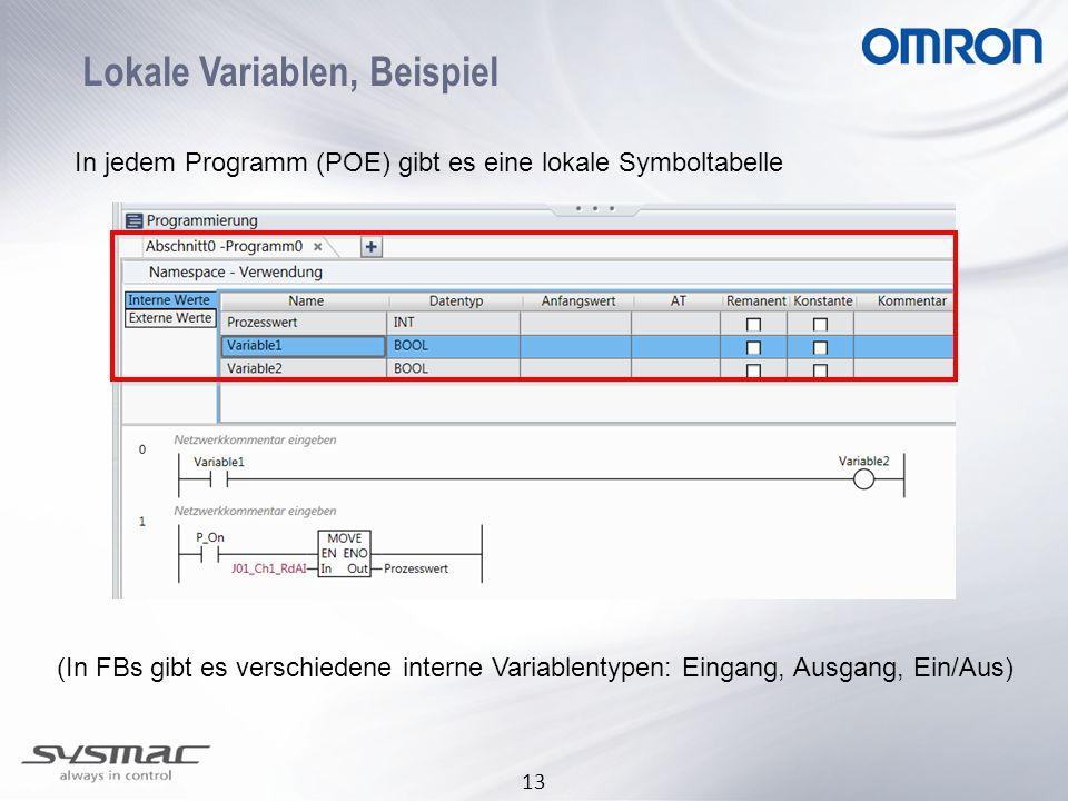 13 Lokale Variablen, Beispiel (In FBs gibt es verschiedene interne Variablentypen: Eingang, Ausgang, Ein/Aus) In jedem Programm (POE) gibt es eine lok