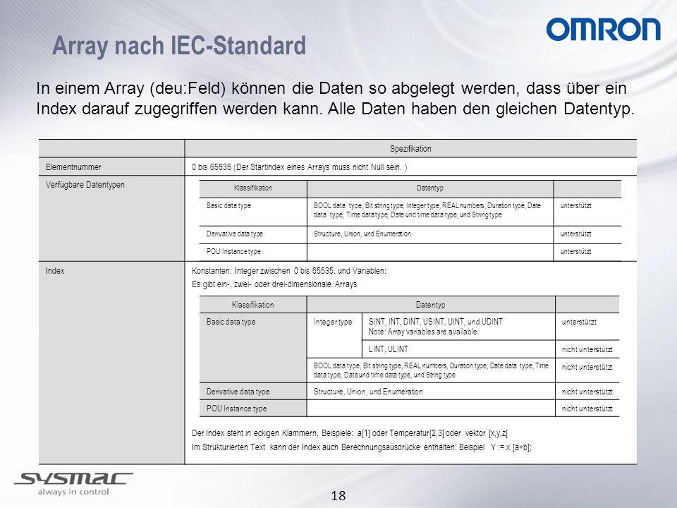18 Array nach IEC-Standard In einem Array (deu:Feld) können die Daten so abgelegt werden, dass über ein Index darauf zugegriffen werden kann. Alle Dat