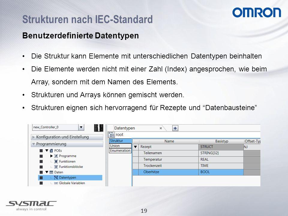 19 Strukturen nach IEC-Standard Benutzerdefinierte Datentypen Die Struktur kann Elemente mit unterschiedlichen Datentypen beinhalten Die Elemente werd