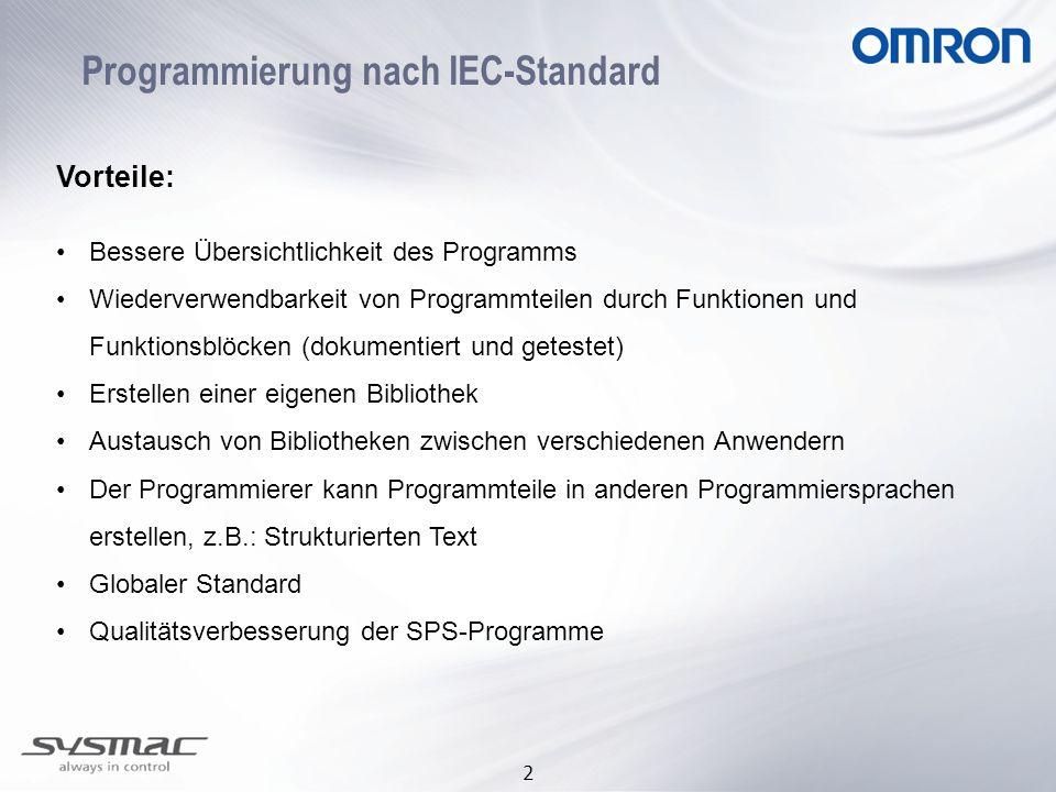 2 Programmierung nach IEC-Standard Vorteile: Bessere Übersichtlichkeit des Programms Wiederverwendbarkeit von Programmteilen durch Funktionen und Funk