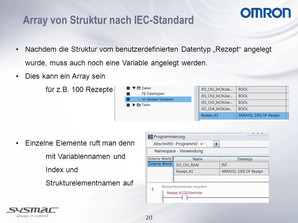 20 Array von Struktur nach IEC-Standard Nachdem die Struktur vom benutzerdefinierten Datentyp Rezept angelegt wurde, muss auch noch eine Variable ange