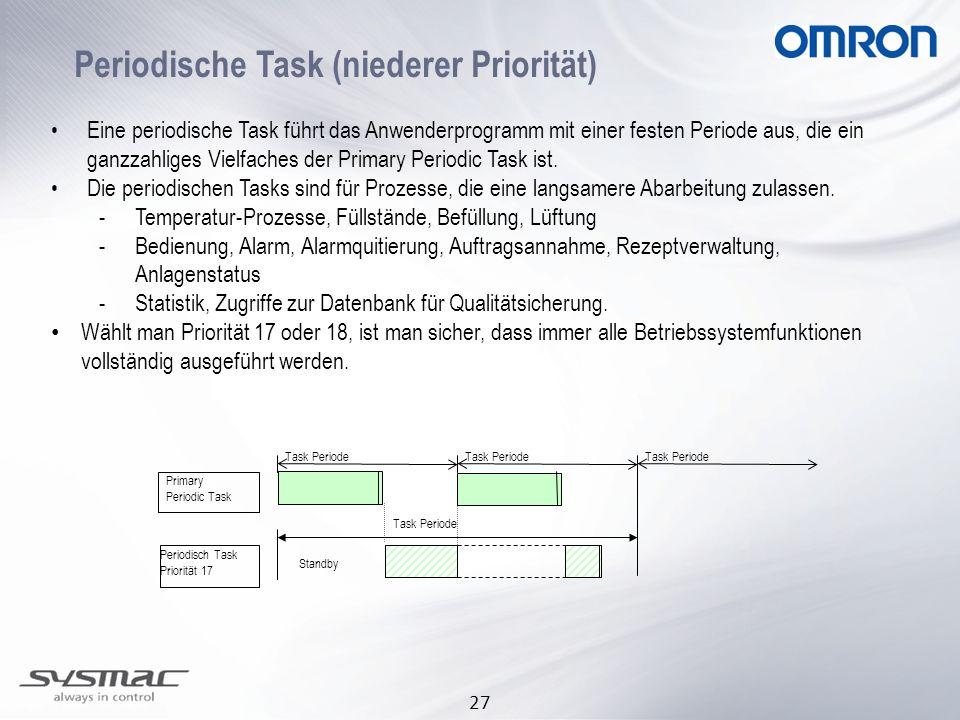 27 Periodische Task (niederer Priorität) Eine periodische Task führt das Anwenderprogramm mit einer festen Periode aus, die ein ganzzahliges Vielfache