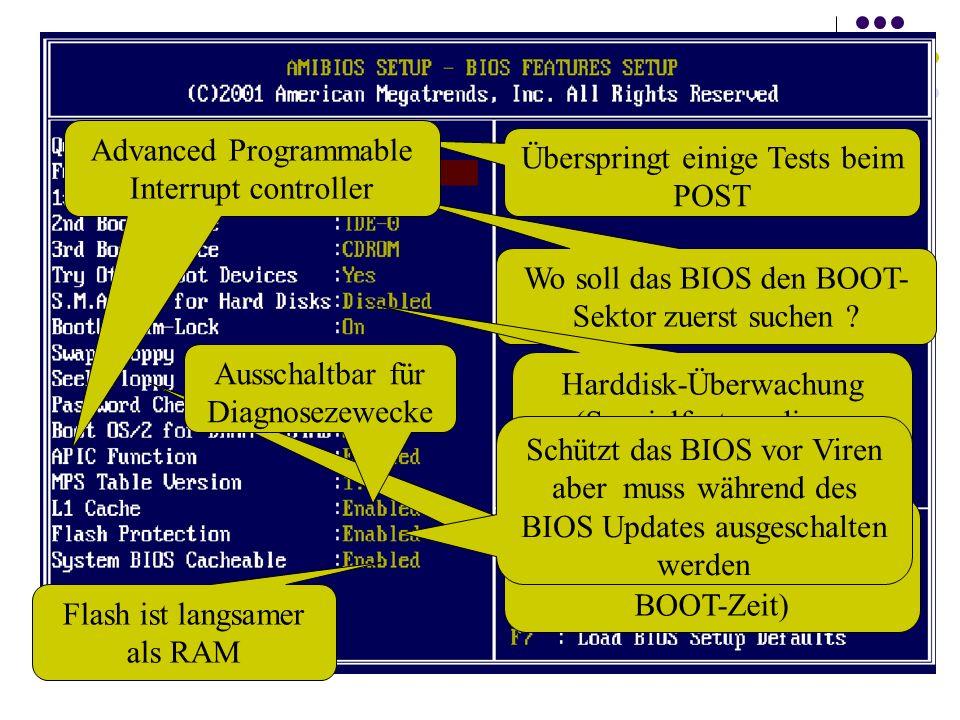 Überspringt einige Tests beim POST Wo soll das BIOS den BOOT- Sektor zuerst suchen ? Harddisk-Überwachung (Spezialfeature dieses Motherboards) PC such
