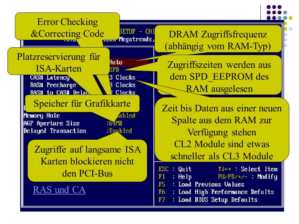 DRAM Zugriffsfrequenz (abhängig vom RAM-Typ) Zugriffszeiten werden aus dem SPD_EEPROM des RAM ausgelesen Zeit bis Daten aus einer neuen Spalte aus dem RAM zur Verfügung stehen CL2 Module sind etwas schneller als CL3 Module RAS und CA Error Checking &Correcting Code Platzreservierung für ISA-Karten Speicher für Grafikkarte Zugriffe auf langsame ISA Karten blockieren nicht den PCI-Bus