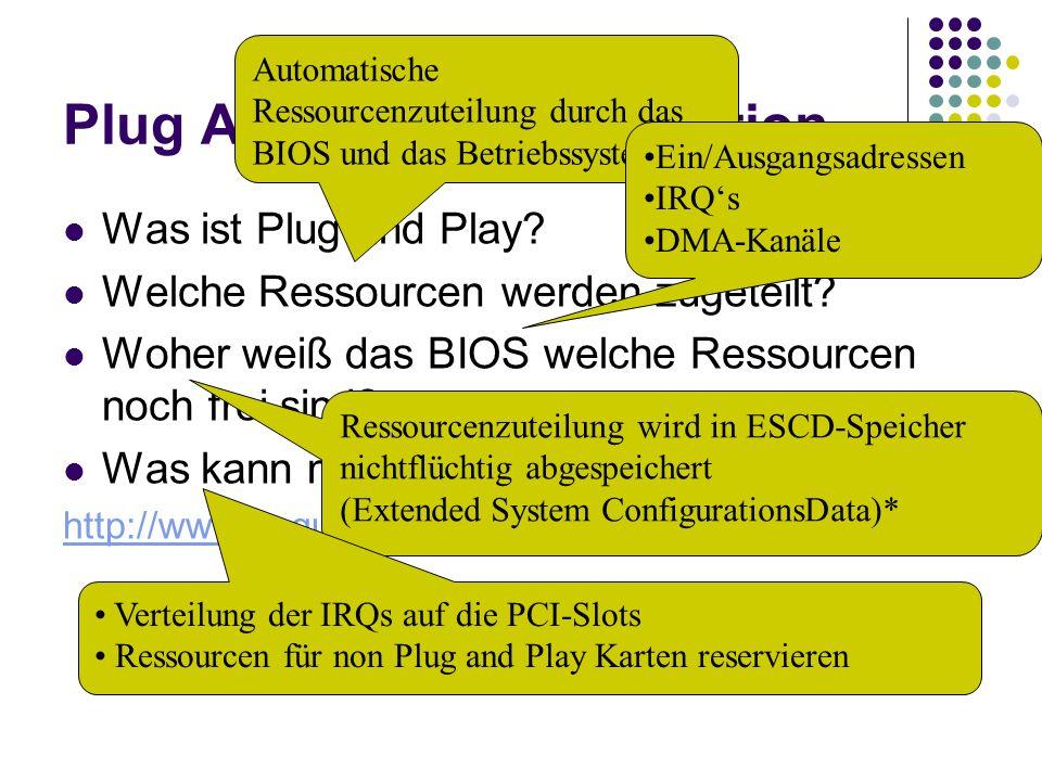 Plug And Play Konfiguration Was ist Plug and Play? Welche Ressourcen werden zugeteilt? Woher weiß das BIOS welche Ressourcen noch frei sind? Was kann