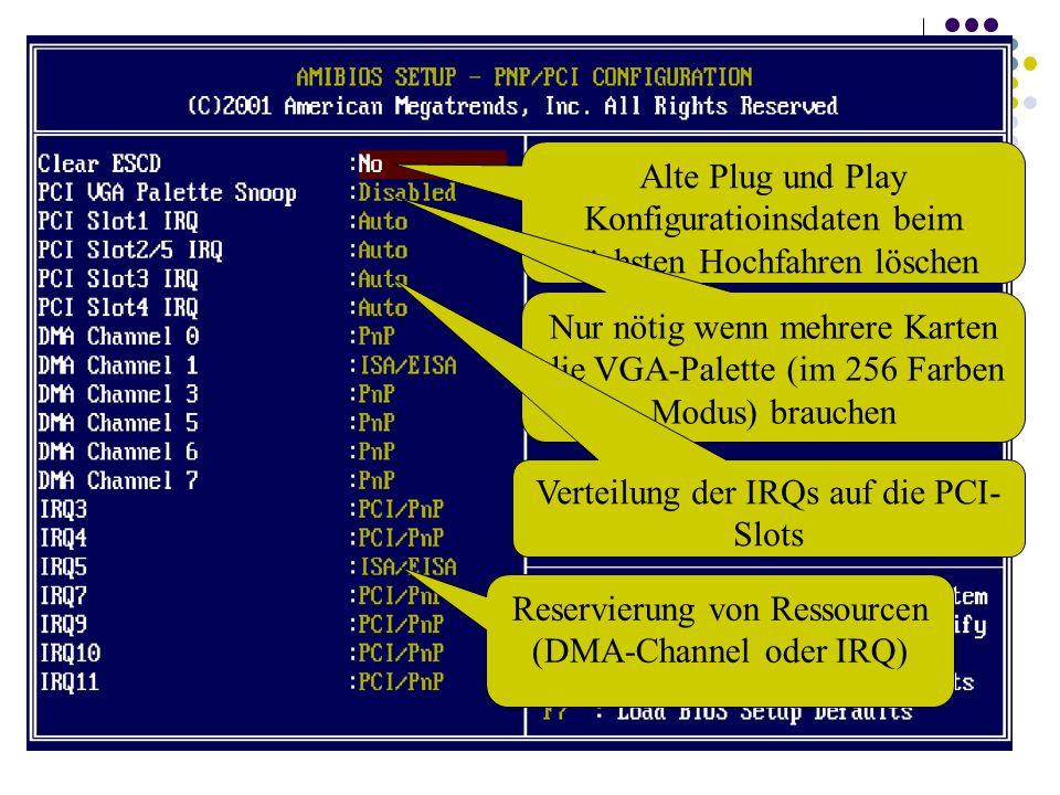 Alte Plug und Play Konfiguratioinsdaten beim nächsten Hochfahren löschen Nur nötig wenn mehrere Karten die VGA-Palette (im 256 Farben Modus) brauchen Verteilung der IRQs auf die PCI- Slots Reservierung von Ressourcen (DMA-Channel oder IRQ)