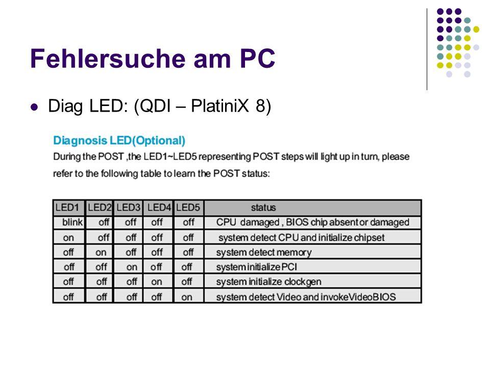 Fehlersuche am PC Diag LED: (QDI – PlatiniX 8)