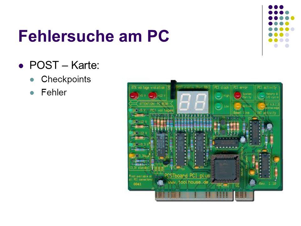 Fehlersuche am PC POST – Karte: Checkpoints Fehler