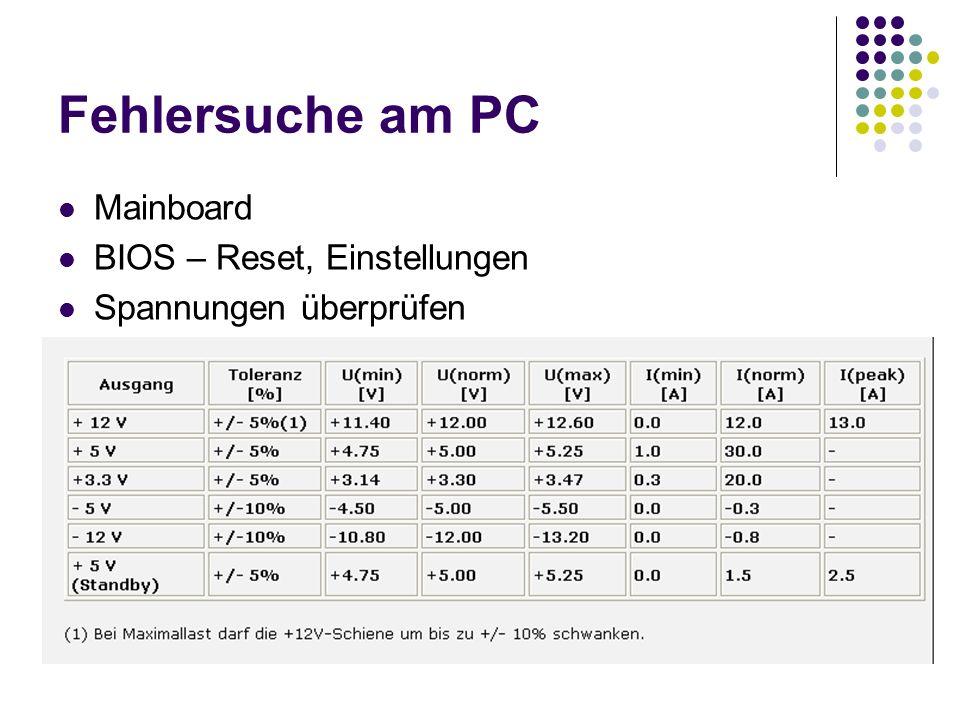Fehlersuche am PC Mainboard BIOS – Reset, Einstellungen Spannungen überprüfen