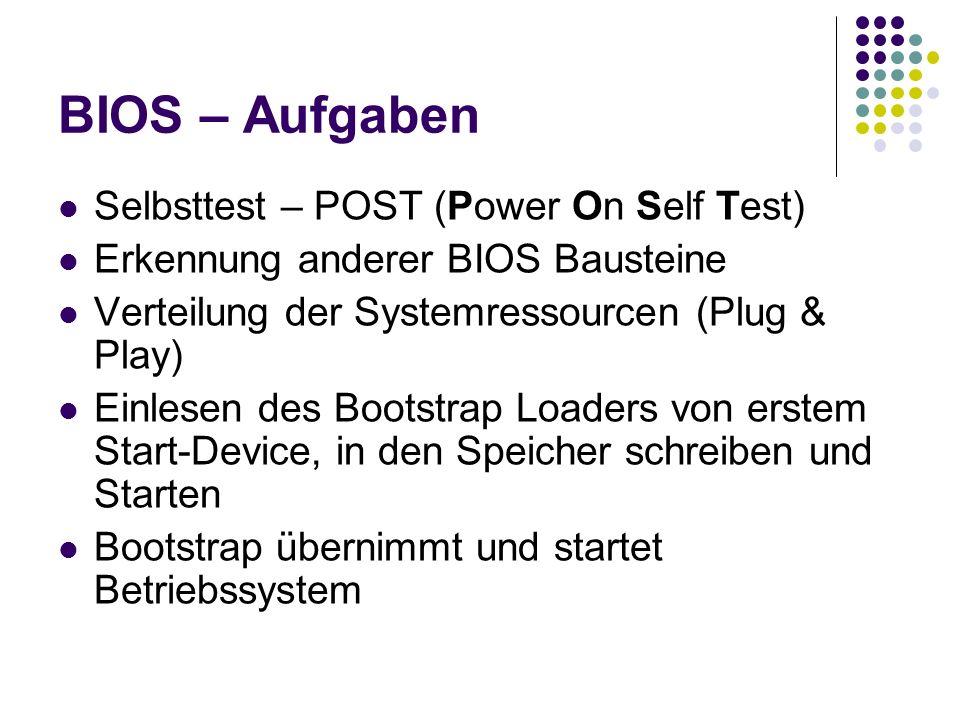 BIOS – Aufgaben Selbsttest – POST (Power On Self Test) Erkennung anderer BIOS Bausteine Verteilung der Systemressourcen (Plug & Play) Einlesen des Bootstrap Loaders von erstem Start-Device, in den Speicher schreiben und Starten Bootstrap übernimmt und startet Betriebssystem