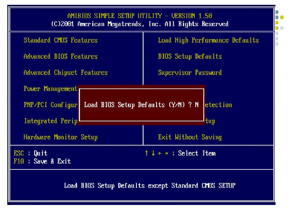 Früher war hier eine Einstellung der Harddiskeigenschaften (Cylinder, Köpfe...) erforderlich Aktuelle Harddisks beherrschen Automatische Konfiguration (Zeit) Diese Option verhindert dass Programme (Viren) den BOOT-Sektor verändern (Sollte Disabled werden – Virenschutzsoftware besser) Einstellung des installierten Floppy- Drive Typs