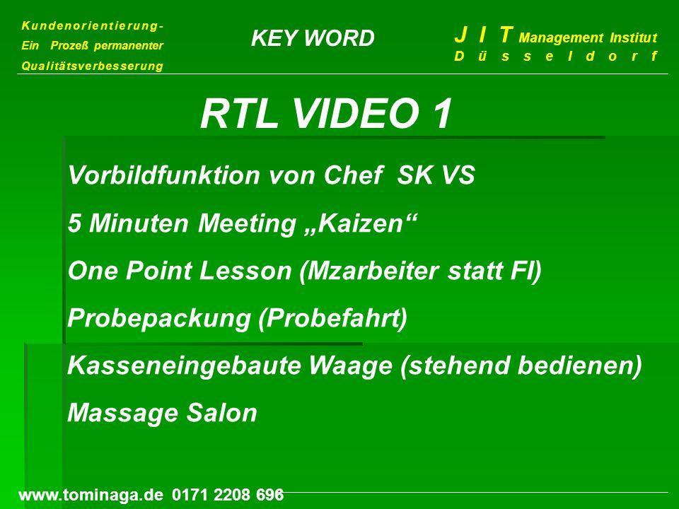 Kundenorientierung- Ein Prozeß permanenter Qualitätsverbesserung J I T Management Institut Düsseldorf www.tominaga.de 0171 2208 696 KEY WORD Vorbildfu