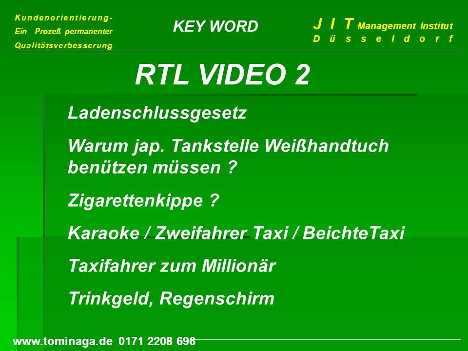 Kundenorientierung- Ein Prozeß permanenter Qualitätsverbesserung J I T Management Institut Düsseldorf www.tominaga.de 0171 2208 696 KEY WORD Ladenschl