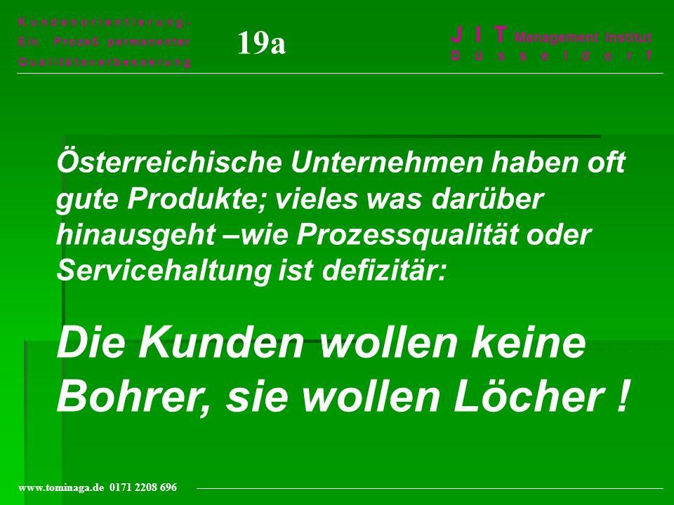 Kundenorientierung- Ein Prozeß permanenter Qualitätsverbesserung J I T Management Institut Düsseldorf www.tominaga.de 0171 2208 696 19a Österreichisch