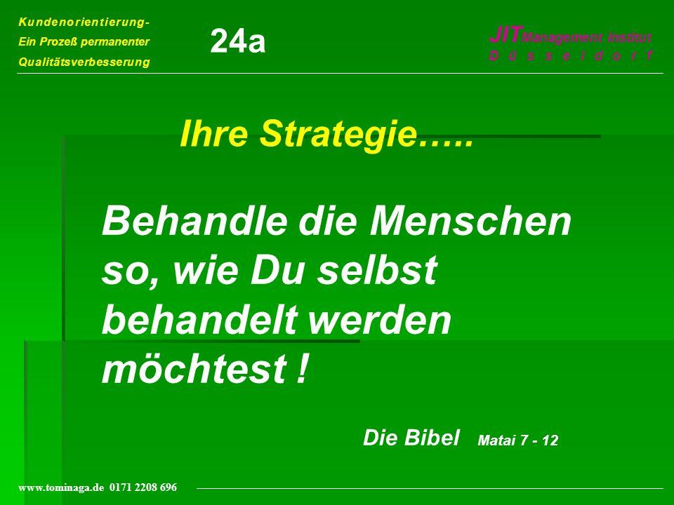 Kundenorientierung- Ein Prozeß permanenter Qualitätsverbesserung JIT Management Institut Düsseldorf www.tominaga.de 0171 2208 696 Ihre Strategie….. Be