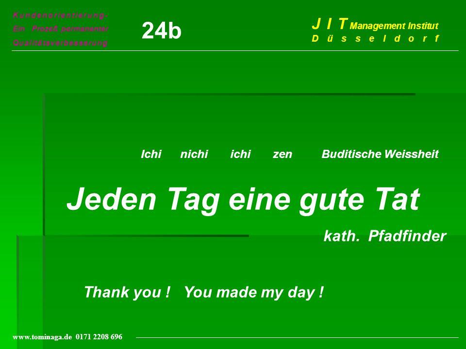 Kundenorientierung- Ein Prozeß permanenter Qualitätsverbesserung J I T Management Institut Düsseldorf www.tominaga.de 0171 2208 696 Ichi nichi ichi ze