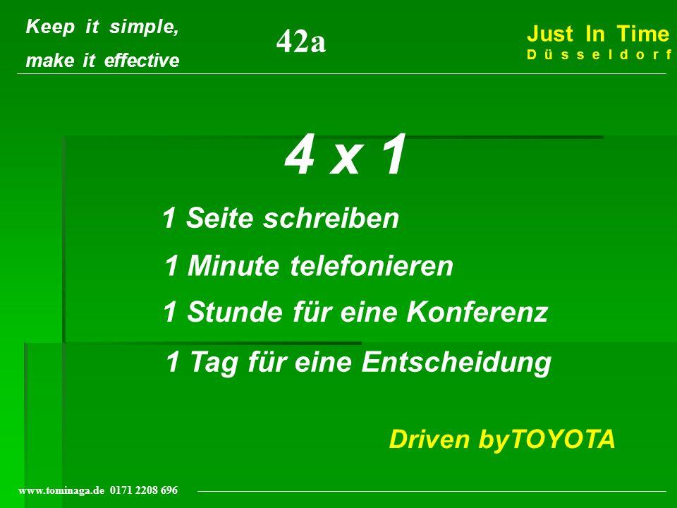 Keep it simple, make it effective Just In Time Düsseldorf www.tominaga.de 0171 2208 696 4 x 1 1 Seite schreiben 1 Minute telefonieren 1 Stunde für ein