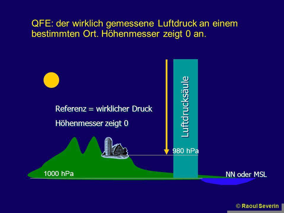 QFE: der wirklich gemessene Luftdruck an einem bestimmten Ort. Höhenmesser zeigt 0 an. © Raoul Severin NN oder MSL Luftdrucksäule Referenz = wirkliche