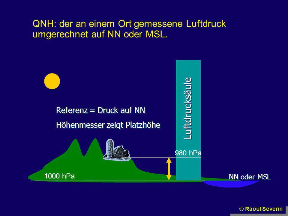 © Raoul Severin NN oder MSL Luftdrucksäule Referenz = Druck auf NN 1000 hPa 980 hPa Höhenmesser zeigt Platzhöhe QNH: der an einem Ort gemessene Luftdr