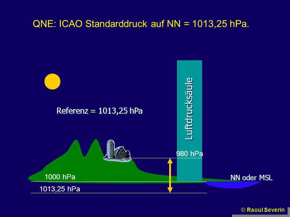 © Raoul Severin NN oder MSL Luftdrucksäule Referenz = 1013,25 hPa 1020 hPa 980 hPa QNE: ICAO Standarddruck auf NN = 1013,25 hPa.