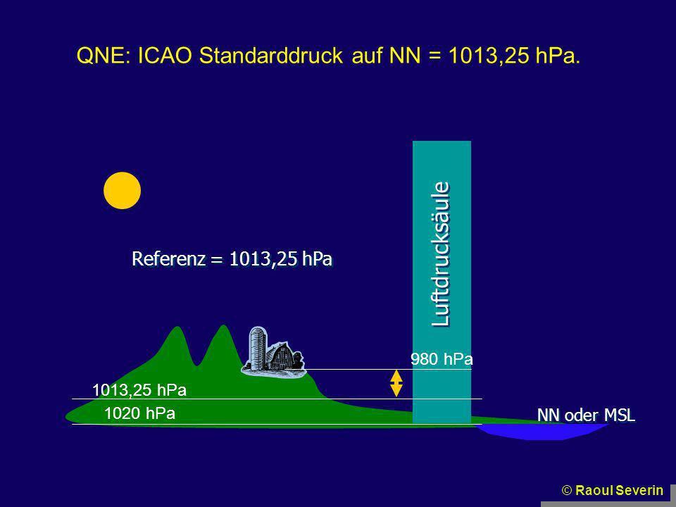 © Raoul Severin NN oder MSL Luftdrucksäule Referenz = 1013,25 hPa 1042 hPa 1020 hPa QNE: ICAO Standarddruck auf NN = 1013,25 hPa.