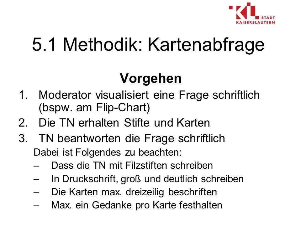 5.1 Methodik: Kartenabfrage Vorgehen 1.Moderator visualisiert eine Frage schriftlich (bspw.