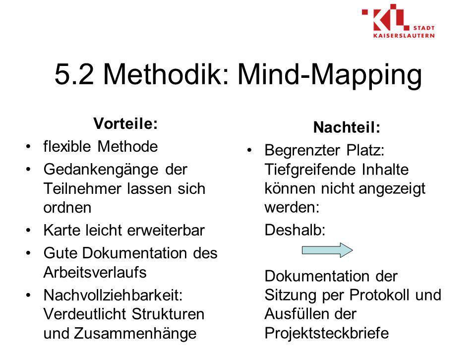 5.2 Methodik: Mind-Mapping Vorteile: flexible Methode Gedankengänge der Teilnehmer lassen sich ordnen Karte leicht erweiterbar Gute Dokumentation des Arbeitsverlaufs Nachvollziehbarkeit: Verdeutlicht Strukturen und Zusammenhänge Nachteil: Begrenzter Platz: Tiefgreifende Inhalte können nicht angezeigt werden: Deshalb: Dokumentation der Sitzung per Protokoll und Ausfüllen der Projektsteckbriefe