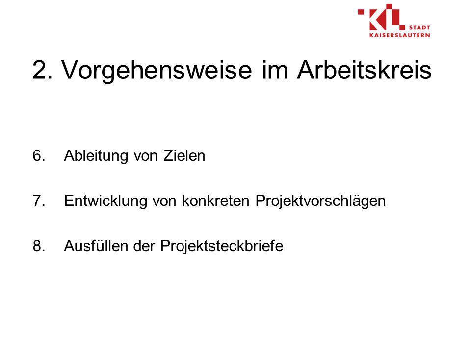 2. Vorgehensweise im Arbeitskreis 6.Ableitung von Zielen 7.Entwicklung von konkreten Projektvorschlägen 8.Ausfüllen der Projektsteckbriefe