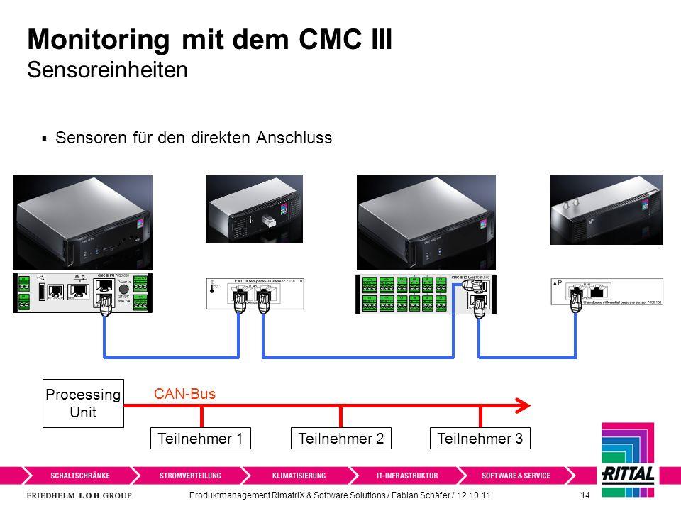 Produktmanagement RimatriX & Software Solutions / Fabian Schäfer / 12.10.11 14 Monitoring mit dem CMC III Sensoreinheiten Sensoren für den direkten An