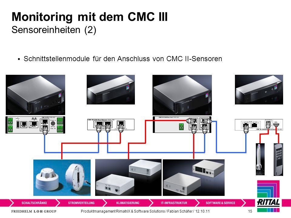 Produktmanagement RimatriX & Software Solutions / Fabian Schäfer / 12.10.11 15 Monitoring mit dem CMC III Sensoreinheiten (2) Schnittstellenmodule für den Anschluss von CMC II-Sensoren