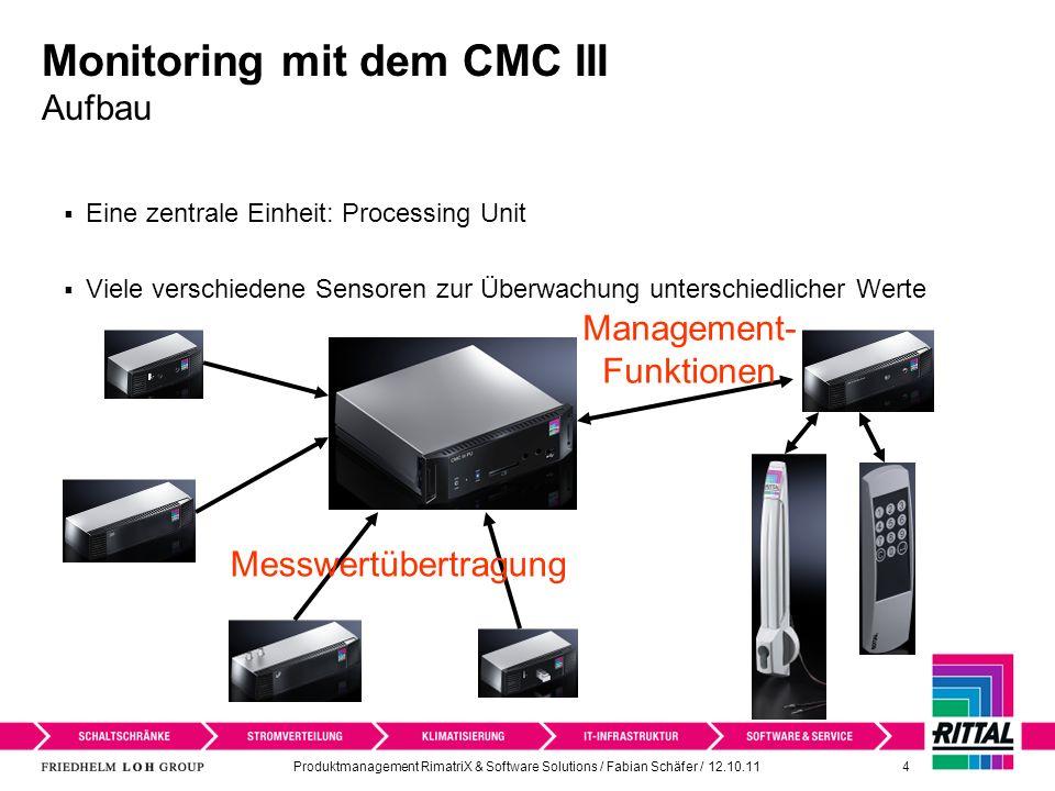 Produktmanagement RimatriX & Software Solutions / Fabian Schäfer / 12.10.11 4 Monitoring mit dem CMC III Aufbau Eine zentrale Einheit: Processing Unit Viele verschiedene Sensoren zur Überwachung unterschiedlicher Werte Messwertübertragung Management- Funktionen