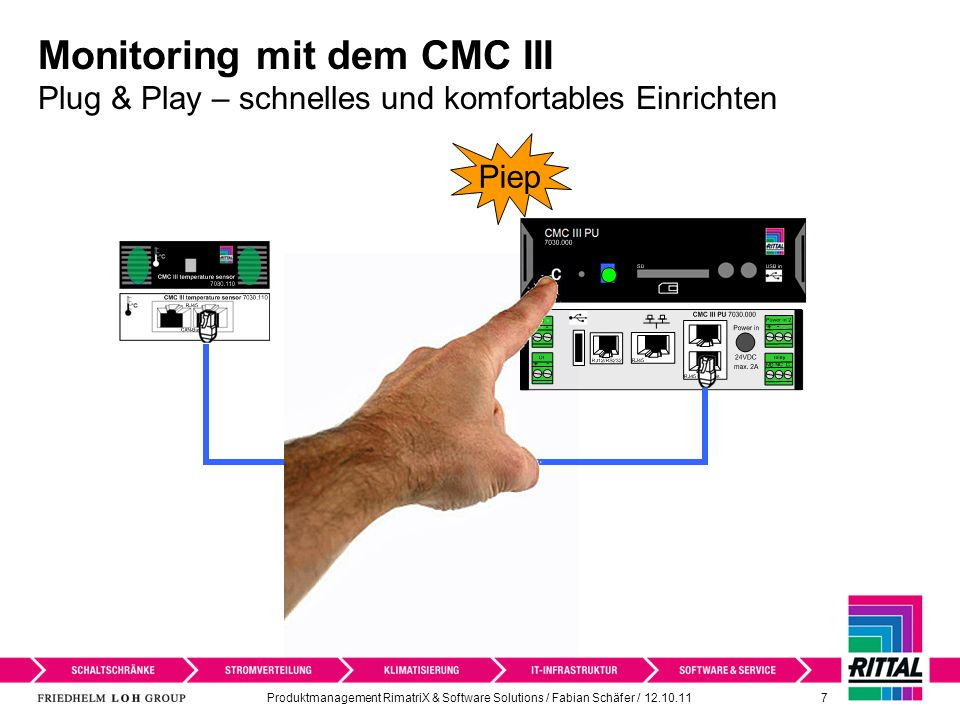 Produktmanagement RimatriX & Software Solutions / Fabian Schäfer / 12.10.11 7 Monitoring mit dem CMC III Plug & Play – schnelles und komfortables Einr