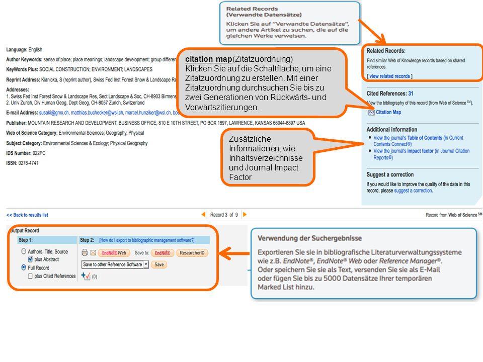 Zusätzliche Informationen, wie Inhaltsverzeichnisse und Journal Impact Factor citation map(Zitatzuordnung) Klicken Sie auf die Schaltfläche, um eine Zitatzuordnung zu erstellen.