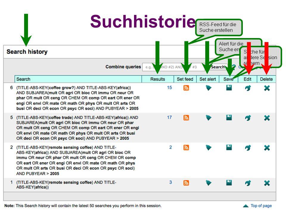 Suchhistorie RSS-Feed für die Suche erstellen Alert für die Suche erstellen Suche für andere Session sichern