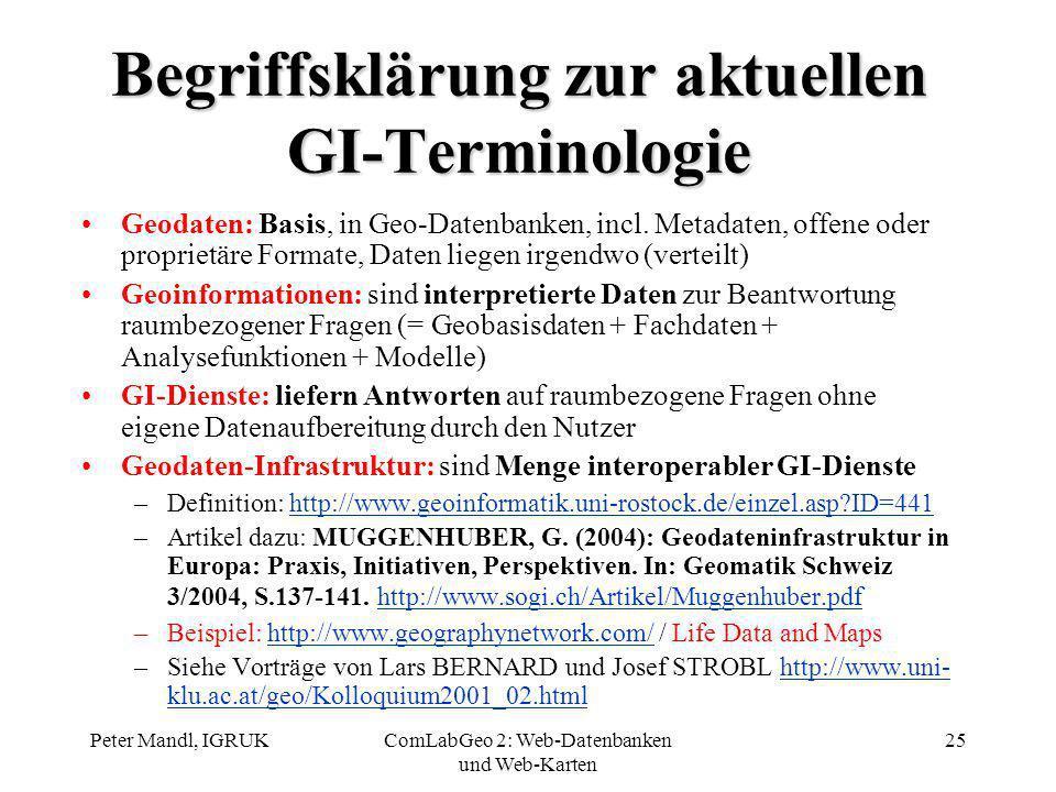 Peter Mandl, IGRUKComLabGeo 2: Web-Datenbanken und Web-Karten 25 Begriffsklärung zur aktuellen GI-Terminologie Geodaten: Basis, in Geo-Datenbanken, in