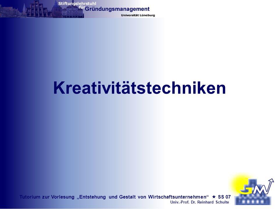 Tutorium zur Vorlesung Entstehung und Gestalt von Wirtschaftsunternehmen SS 07 Univ.-Prof. Dr. Reinhard Schulte Kreativitätstechniken