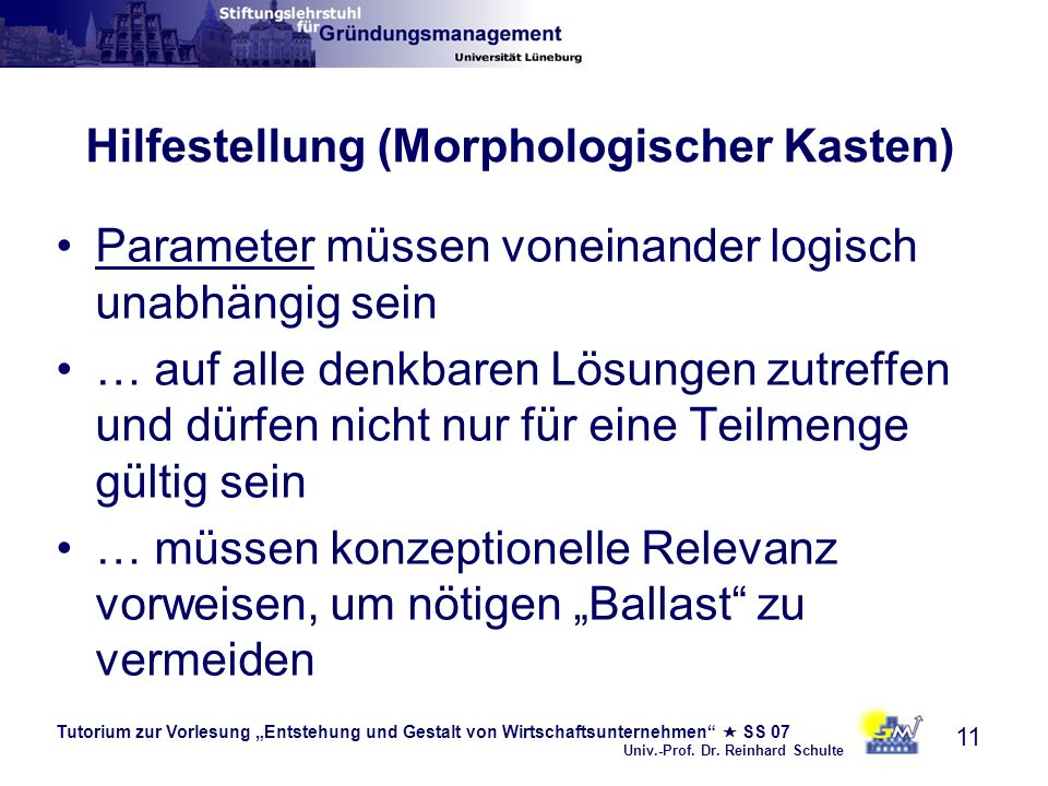 Tutorium zur Vorlesung Entstehung und Gestalt von Wirtschaftsunternehmen SS 07 Univ.-Prof. Dr. Reinhard Schulte 11 Hilfestellung (Morphologischer Kast