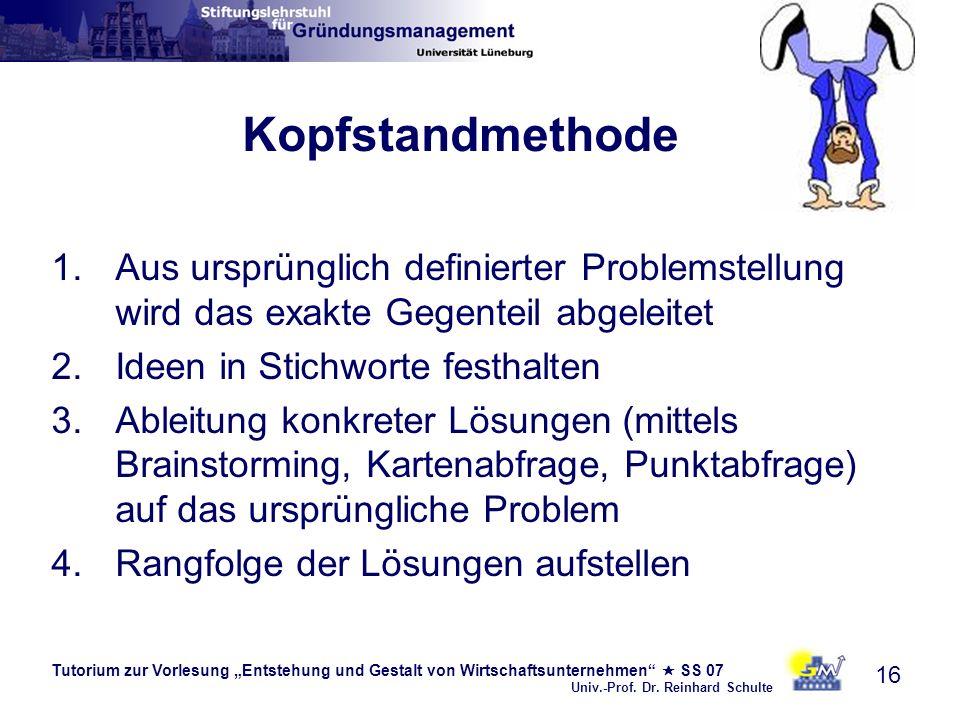 Tutorium zur Vorlesung Entstehung und Gestalt von Wirtschaftsunternehmen SS 07 Univ.-Prof. Dr. Reinhard Schulte 16 Kopfstandmethode 1.Aus ursprünglich