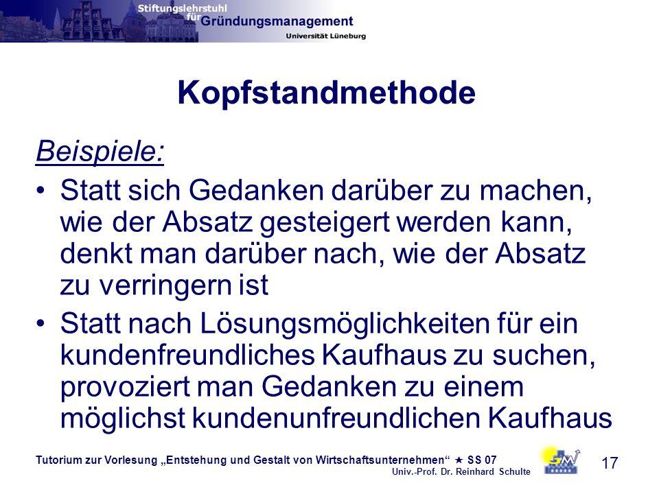 Tutorium zur Vorlesung Entstehung und Gestalt von Wirtschaftsunternehmen SS 07 Univ.-Prof. Dr. Reinhard Schulte 17 Kopfstandmethode Beispiele: Statt s