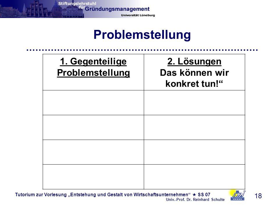 Tutorium zur Vorlesung Entstehung und Gestalt von Wirtschaftsunternehmen SS 07 Univ.-Prof. Dr. Reinhard Schulte 18 Problemstellung …………………………………………………